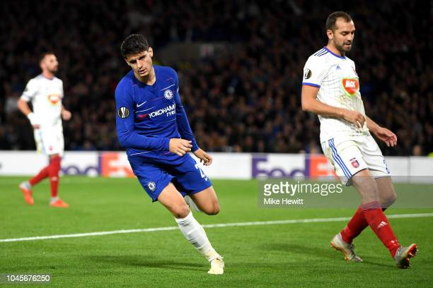 Alvaro Morata of Chelsea celebrates after scoring his team's first goal during the UEFA Europa League Group L match between Chelsea and Vidi FC at...
