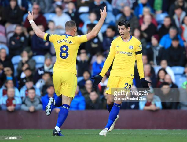 Alvaro Morata of Chelsea celebrates after scoring his team's first goal with Ross Barkley of Chelsea during the Premier League match between Burnley...