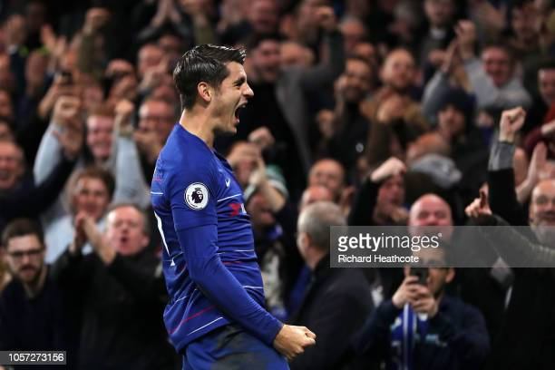 Alvaro Morata of Chelsea celebrates after scoring his team's first goal during the Premier League match between Chelsea FC and Crystal Palace at...