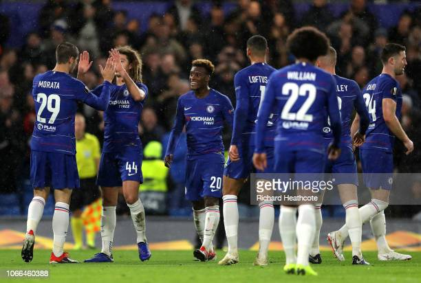 Alvaro Morata of Chelsea celebrates after scoring his team's fourth goal with Ethan Ampadu of Chelsea during the UEFA Europa League Group L match...