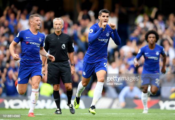 Alvaro Morata of Chelsea celebrates after scoring his team's second goal during the Premier League match between Chelsea FC and Arsenal FC at...