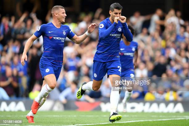 Alvaro Morata of Chelsea celebrates after scoring his team's second goal with team mate Ross Barkley during the Premier League match between Chelsea...