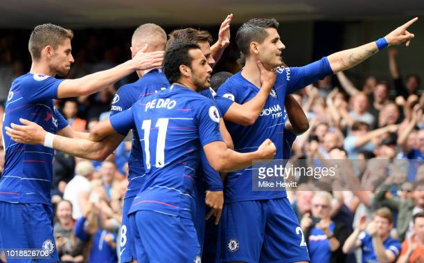Alvaro Morata of Chelsea celebrates after scoring his team's second goal with team mates Ross Barkley Pedro and Jorginho during the Premier League...