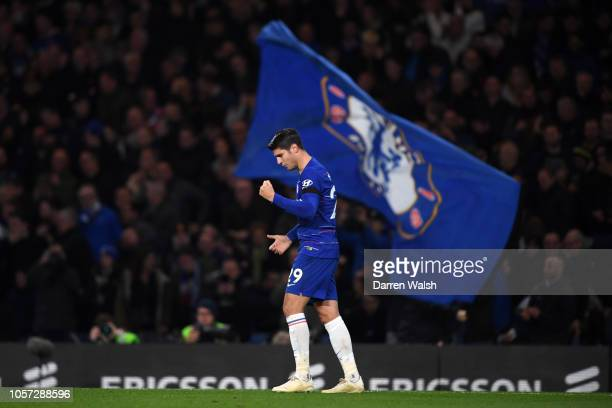 Alvaro Morata of Chelsea celebrates after scoring his team's second goal during the Premier League match between Chelsea FC and Crystal Palace at...