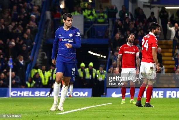 Alvaro Morata of Chelsea celebrates after scoring his team's second goal during the FA Cup Third Round match between Chelsea and Nottingham Forest at...