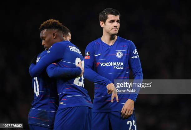Alvaro Morata of Chelsea celebrates after scoring his team's second goal with his team mates during the FA Cup Third Round match between Chelsea and...