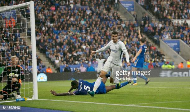 Alvaro Morata of Chelsea celebrates after scoring to make it 01 during the Premier League match between Leicester City and Chelsea at King Power...