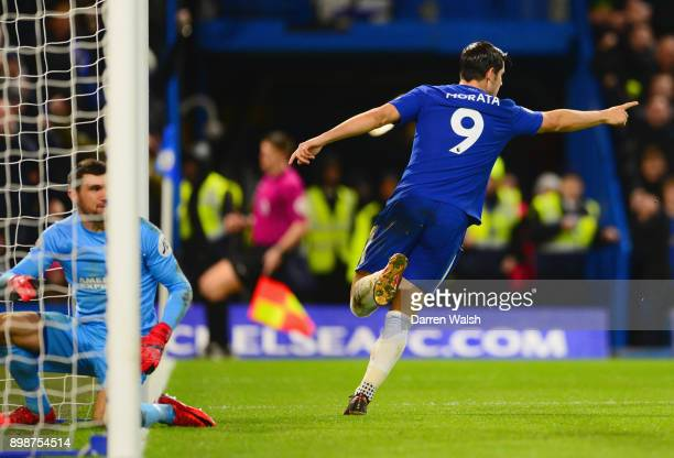 Alvaro Morata of Chelsea celebrates as he scores their first goal during the Premier League match between Chelsea and Brighton and Hove Albion at...