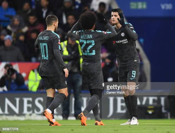 Alvaro Morata of Chelsea celebrates as he scores their first goal with team mates during The Emirates FA Cup Quarter Final match between Leicester...