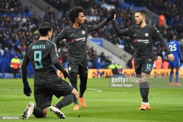 Alvaro Morata of Chelsea celebrates as he scores their first goal with Willian and Eden Hazard during The Emirates FA Cup Quarter Final match between...