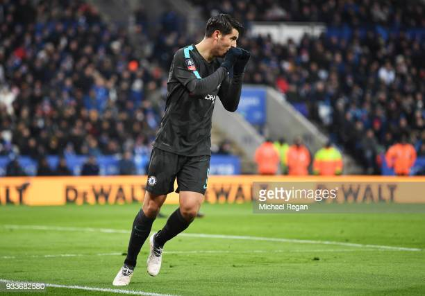 Alvaro Morata of Chelsea celebrates as he scores their first goal during The Emirates FA Cup Quarter Final match between Leicester City and Chelsea...