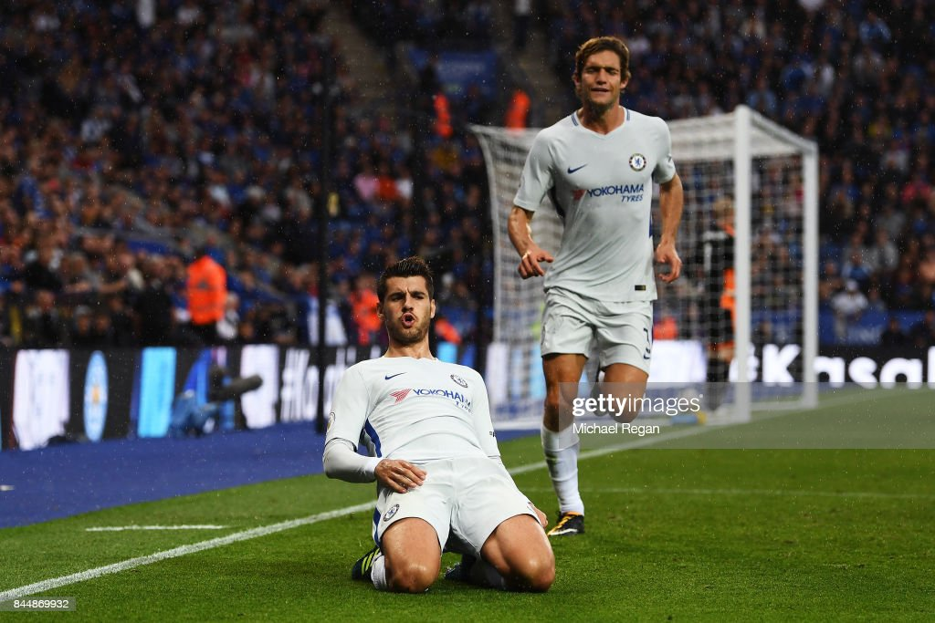Alvaro Morata of Chelsea celebrates scoring his sides first goal during the Premier League match between Leicester City and Chelsea at The King Power Stadium on September 9, 2017 in Leicester, England.
