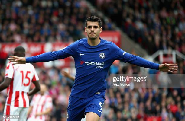 Alvaro Morata of Chelsea celebrates scoring his sides first goal during the Premier League match between Stoke City and Chelsea at Bet365 Stadium on...