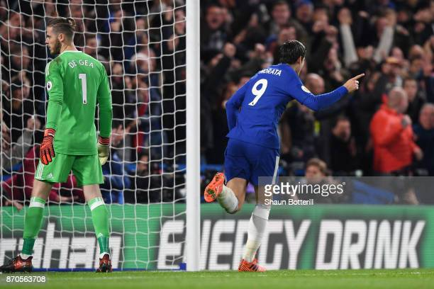 Alvaro Morata of Chelsea celebrates scoring his sides first goal during the Premier League match between Chelsea and Manchester United at Stamford...