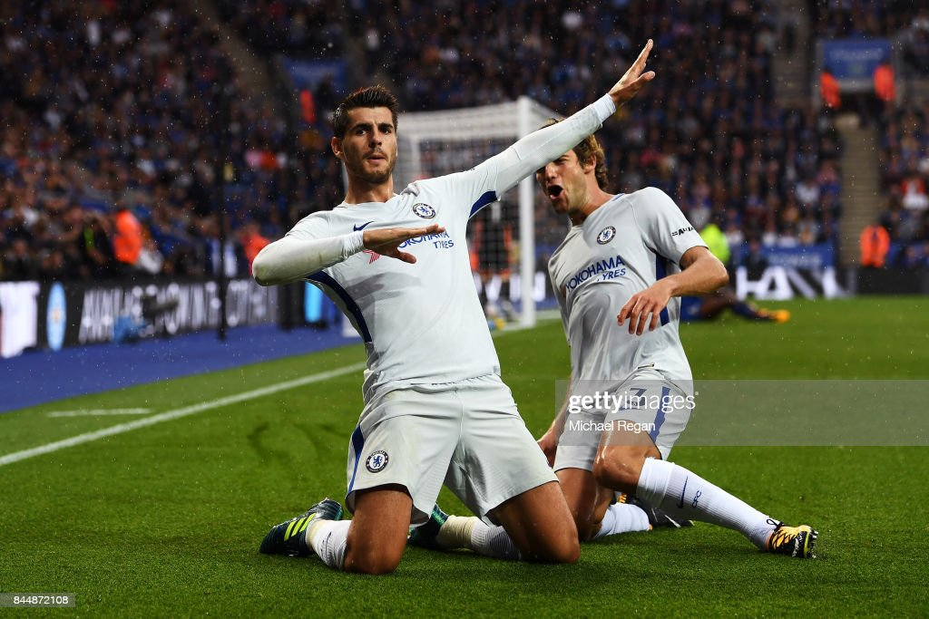 Alvaro Morata of Chelsea celebrates scoring his sides first goal with Marcos Alonso of Chelsea during the Premier League match between Leicester City and Chelsea at The King Power Stadium on September 9, 2017 in Leicester, England.