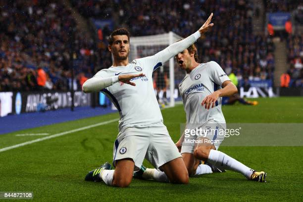 Alvaro Morata of Chelsea celebrates scoring his sides first goal with Marcos Alonso of Chelsea during the Premier League match between Leicester City...