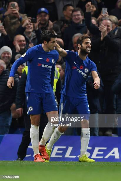 Alvaro Morata of Chelsea celebrates scoring his sides first goal with Cesc Fabregas of Chelsea during the Premier League match between Chelsea and...
