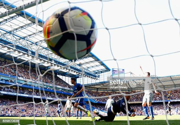 Alvaro Morata of Chelsea celebrates scoring his sides second goal during the Premier League match between Chelsea and Everton at Stamford Bridge on...