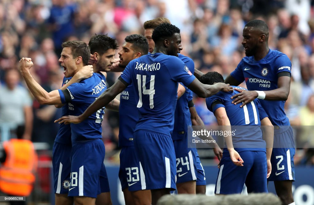 Alvaro Morata of Chelsea celebrates scoring the 2nd Chelsea goal with Cesar Azpilicueta and team mates during The Emirates FA Cup Semi Final match between Chelsea and Southampton at Wembley Stadium on April 22, 2018 in London, England.