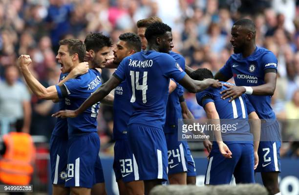 Alvaro Morata of Chelsea celebrates scoring the 2nd Chelsea goal with Cesar Azpilicueta and team mates during The Emirates FA Cup Semi Final match...