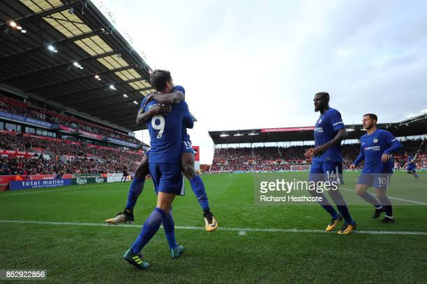 Alvaro Morata of Chelsea celebrates scoring the third goal during the Premier League match between Stoke City and Chelsea at Bet365 Stadium on...