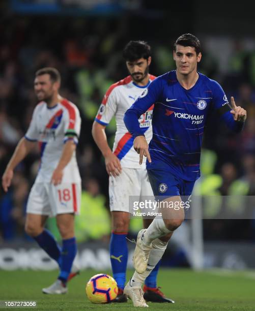 Alvaro Morata of Chelsea celebrates scoring their 1st goal during the Premier League match between Chelsea FC and Crystal Palace at Stamford Bridge...