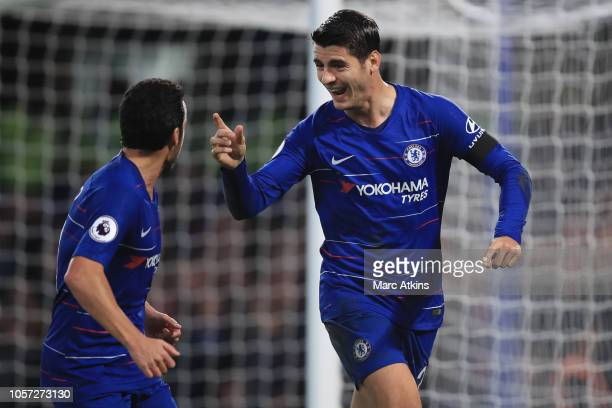 Alvaro Morata of Chelsea celebrates scoring their 1st goal with Pedro during the Premier League match between Chelsea FC and Crystal Palace at...