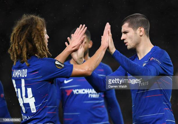 Alvaro Morata of Chelsea celebrates victory with Ethan Ampadu of Chelsea after the UEFA Europa League Group L match between Chelsea and PAOK at...