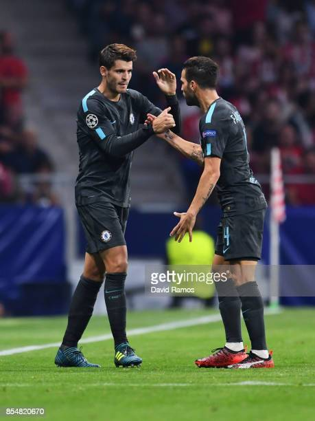 Alvaro Morata of Chelsea celebrates with Cesc Fabregas of Chelsea after he scores his sides first goal during the UEFA Champions League group C match...