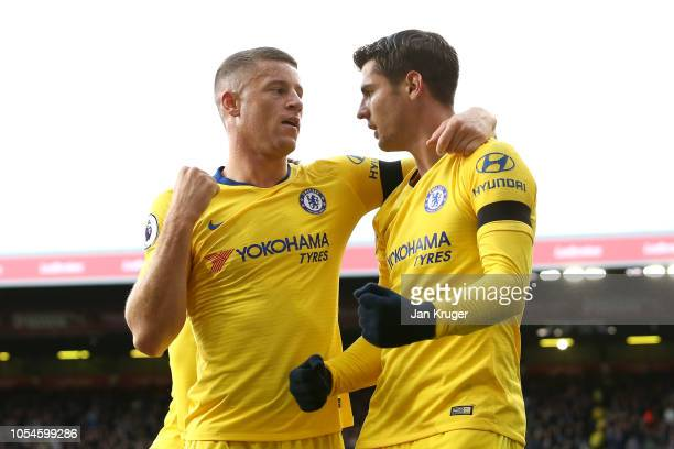 Alvaro Morata of Chelsea celebrates with Ross Barkley after scoring his teams first goal during the Premier League match between Burnley FC and...