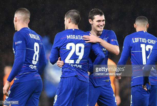 Alvaro Morata of Chelsea celebrates with teammate Andreas Christensen after scoring his team's fourth goal during the UEFA Europa League Group L...