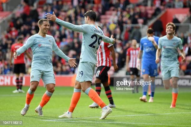 Alvaro Morata of Chelsea celebrates with teammate Eden Hazard after scoring his team's third goal during the Premier League match between Southampton...