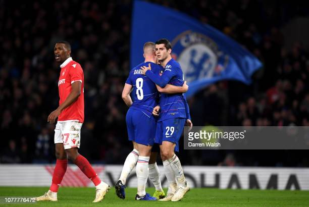Alvaro Morata of Chelsea celebrates with teammates after scoring his team's second goal during the FA Cup Third Round match between Chelsea and...