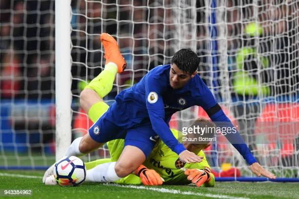 Alvaro Morata of Chelsea clashes with Joe Hart of West Ham United during the Premier League match between Chelsea and West Ham United at Stamford...