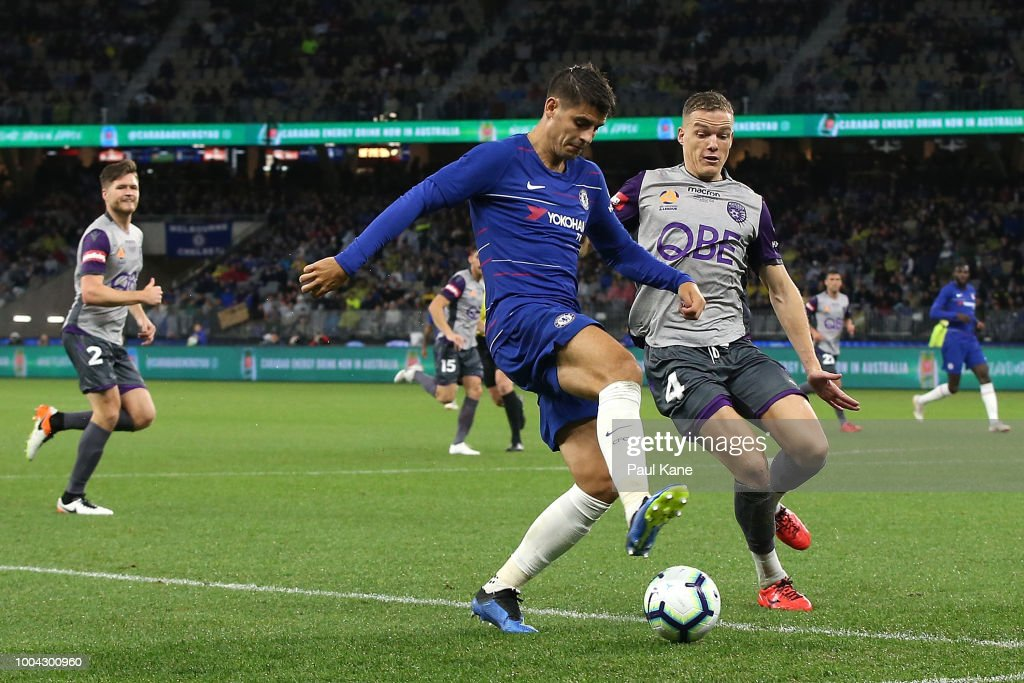Alvaro Morata of Chelsea controls the ball against Shane Lowry of the Glory during the international friendly between Chelsea FC and Perth Glory at Optus Stadium on July 23, 2018 in Perth, Australia.
