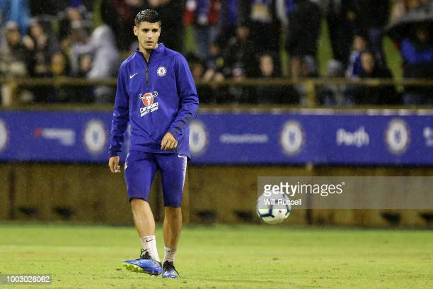 Alvaro Morata of Chelsea during a Chelsea FC training session at The WACA on July 21 2018 in Perth Australia
