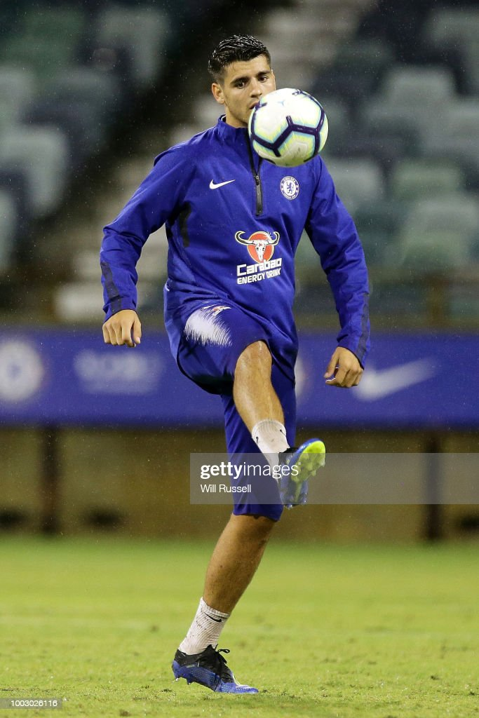 Alvaro Morata of Chelsea during a Chelsea FC training session at The WACA on July 21, 2018 in Perth, Australia.