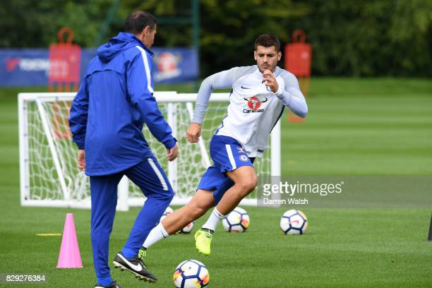 Alvaro Morata of Chelsea during a training session at Chelsea Training Ground on August 10 2017 in Cobham England