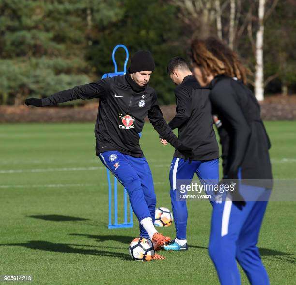 Alvaro Morata of Chelsea during a training session at Chelsea Training Ground on January 16 2018 in Cobham England