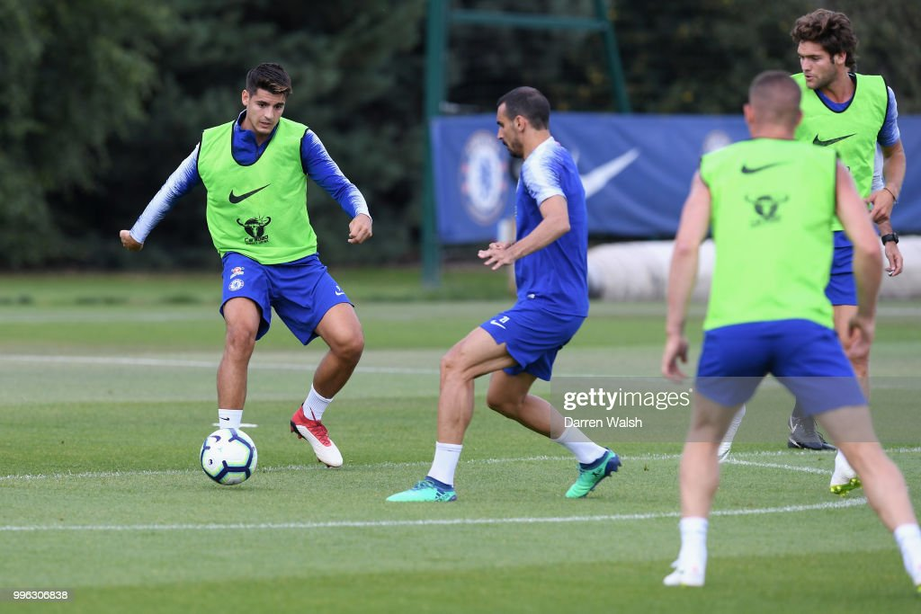 Alvaro Morata of Chelsea during a training session at Chelsea Training Ground on July 11, 2018 in Cobham, England.