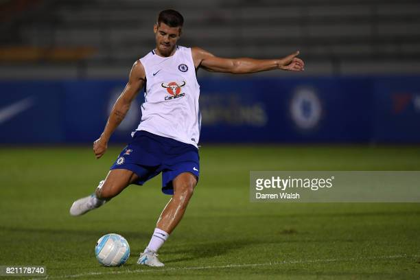 Alvaro Morata of Chelsea during a training session at Singapore American School on July 23 2017 in Singapore