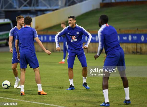 Alvaro Morata of Chelsea during a training session at the WACA on July 22 2018 in Perth Australia