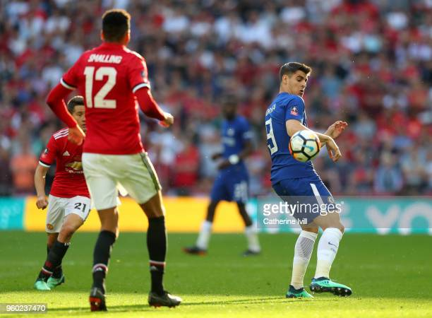 Alvaro Morata of Chelsea during The Emirates FA Cup Final between Chelsea and Manchester United at Wembley Stadium on May 19 2018 in London England