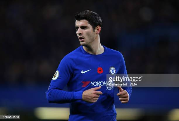 Alvaro Morata of Chelsea during the Premier League match between Chelsea and Manchester United at Stamford Bridge on November 5 2017 in London England