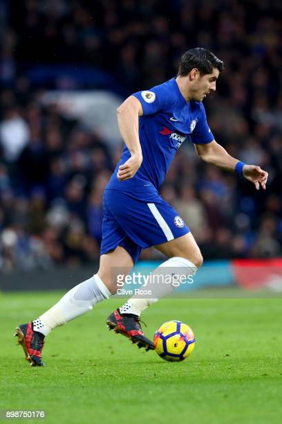 Alvaro Morata of Chelsea during the Premier League match between Chelsea and Brighton and Hove Albion at Stamford Bridge on December 26 2017 in...