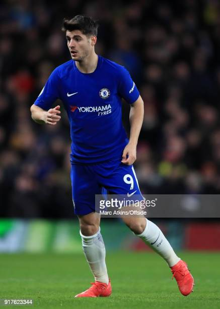 Alvaro Morata of Chelsea during the Premier League match between Chelsea and West Bromwich Albion at Stamford Bridge on February 12 2018 in London...