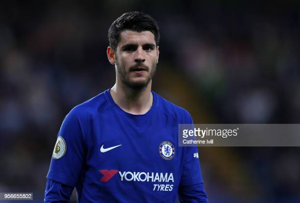Alvaro Morata of Chelsea during the Premier League match between Chelsea and Huddersfield Town at Stamford Bridge on May 9 2018 in London England