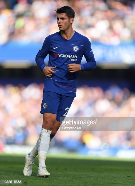 Alvaro Morata of Chelsea during the Premier League match between Chelsea FC and Manchester United at Stamford Bridge on October 20 2018 in London...