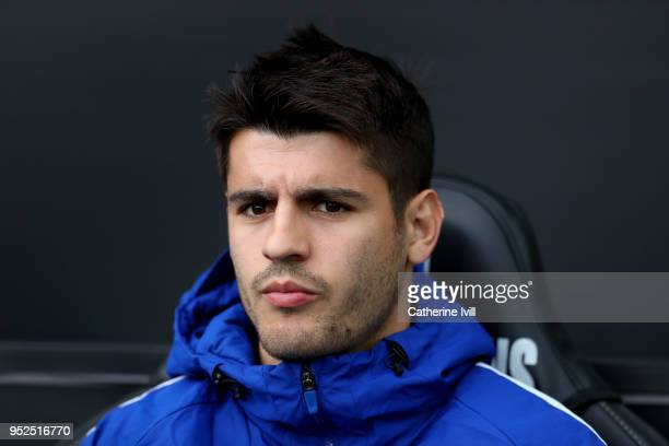 Alvaro Morata of Chelsea during the Premier League match between Swansea City and Chelsea at Liberty Stadium on April 28 2018 in Swansea Wales
