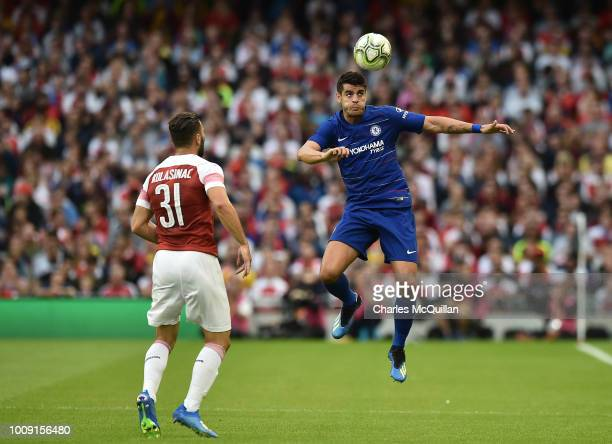 Alvaro Morata of Chelsea during the Preseason friendly International Champions Cup game between Arsenal and Chelsea at Aviva stadium on August 1 2018...
